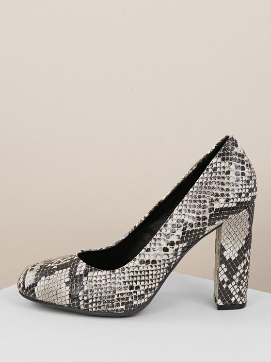 2dc47fb8b95 Snakeskin Almond Toe Block Heel Pumps