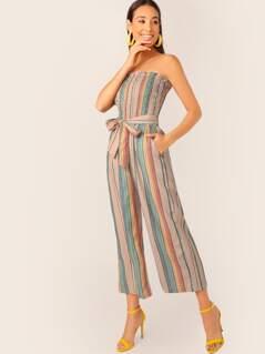 Strapless Smocked Bodice Waist Tie Stripe Jumpsuit
