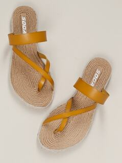 Criss Cross Toe Ring Jute Trim Flat Slide Sandals