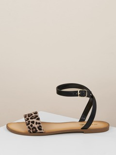 Cheetah Band Buckled Ankle Wrap Flat Sandals