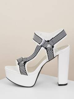 Embroidered Stripe Velcro Ankle Platform Heels