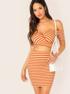 Button Cross Front Cut Out Stripe Rib Mini Dress
