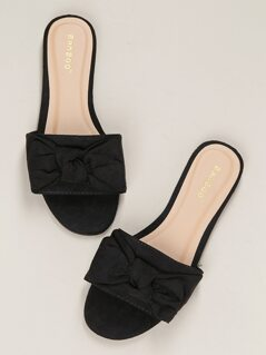 Wide Bow Band Open Toe Flat Slide Sandals