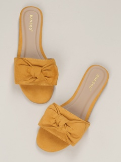 Large Band Open Toe Knot Flat Slide Sandals