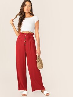 Paperbag Waist Button Front Palazzo Pants