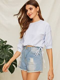 Drop Shoulder Drawstring Hem Pinstripe Top