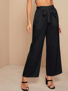 Paperbag Waist Slant Pocket Self Belted Palazzo Pants