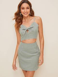 Tie Neck Shirred Back Gingham Cami and Skirt Set
