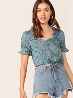 Frill Trim Crinkle Detail Drawstring Hem Shirt