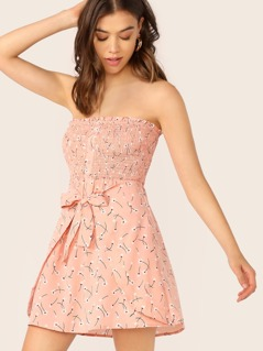 Shirred Bodice Button Front Tied Wrap Tube Dress