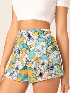 Botanical Print Ruffle Trim Shorts