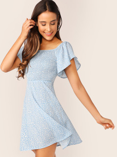 Shirred Front Flutter Sleeve Dalmatian Print Dress