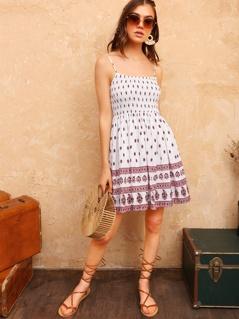Tribal Print Shirred Bodice Cami Dress