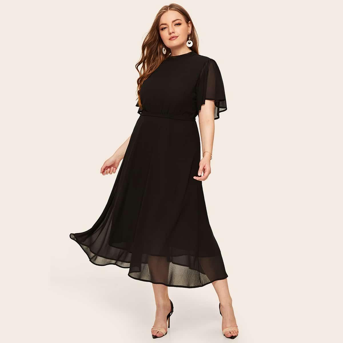 Zwart Elegant Vlak Grote maten jurken Zonder rug