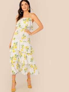 Mixed Print Flounce Foldover Layered Cami Dress