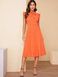 Neon Orange Tie Neck Ruffle Armhole Dress