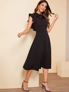 Solid Ruffle Armhole Fit and Flare Dress