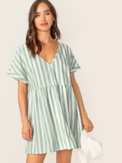 Keyhole Back Striped Smock Dress