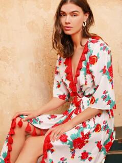 Floral Print Tassel Detail Self Belted Wrap Dress