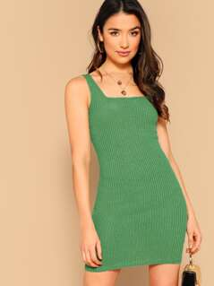 Solid Rib-knit Bodycon Tank Dress