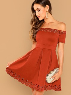 Off Shoulder Laser Cut Pleated Detail Dress