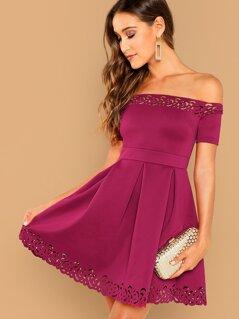 Off Shoulder Laser Cut Pleated Detail Dress