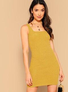 Solid Rib-knit Bodycon Tank Dress