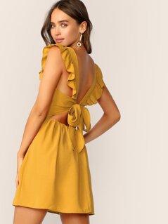 Ruffle Armhole Tie Back Dress