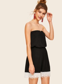 Guipure Lace Trim Tube Romper
