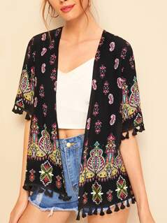 Tassel Trim Tribal Print Kimono