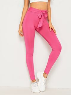 Neon Pink Wide Waistband Belted Leggings