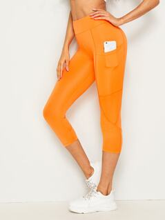 Neon Orange Patch Pocket Crop Leggings