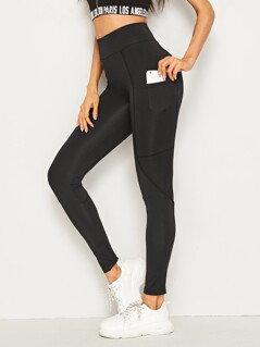 Solid Wide Waistband Stitch Leggings