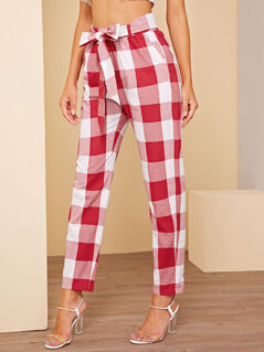Gingham Print Tapered Pants With Belt