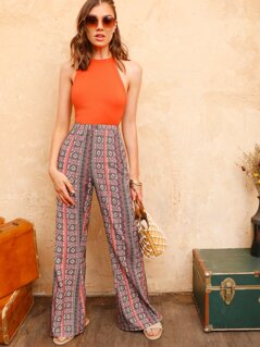 Tribal Print Flare Leg Pants