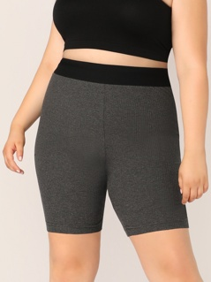 Plus Contrast Wide Waistband Leggings Shorts