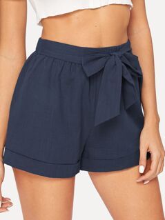 Elastic Waist Cuffed Shorts With Belt
