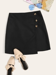 Button Front Wrap Skirt