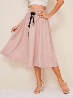 Lace Up Wide Band Waist Midi Skirt
