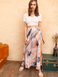 Tie Dye Split Side Maxi Skirt