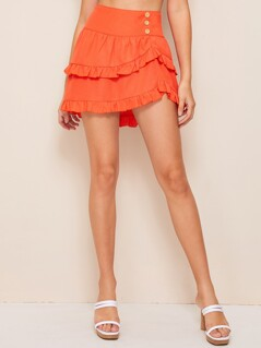 Neon Orange Wide Waistband Asymmetrical Skirt