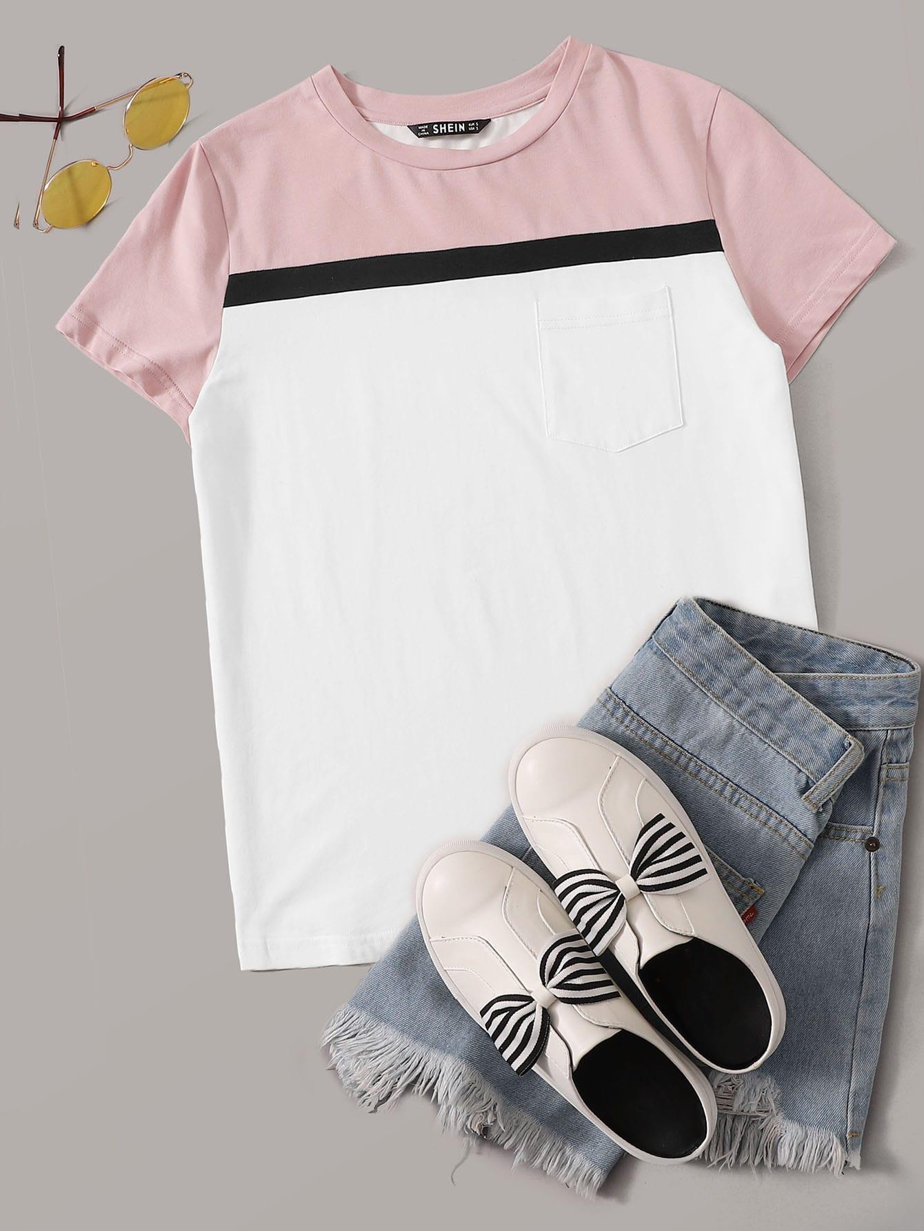 Фото - Контрастная футболка с карманом от SheIn белого цвета