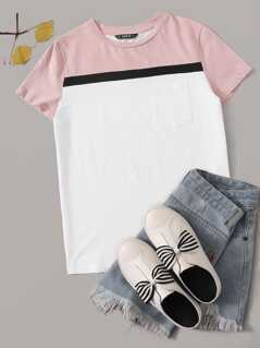 Colorblock Pocket Patched Tee