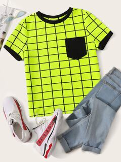 Neon Lime Pocket Patched Grid Ringer Tee