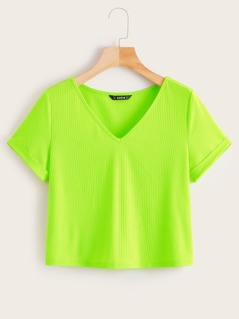 Neon Lime V-cut Rib-Knit Tee