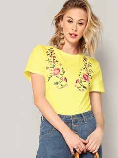 Neon Yellow Botanical Embroidered Tee