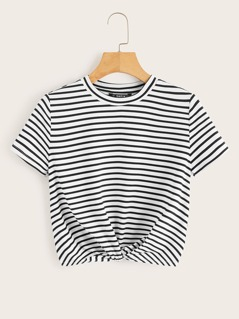 Twist Front Striped Top