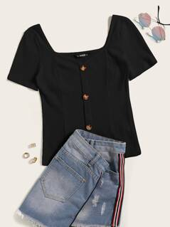 Plus Button Front Rib-knit Sweetheart Tee