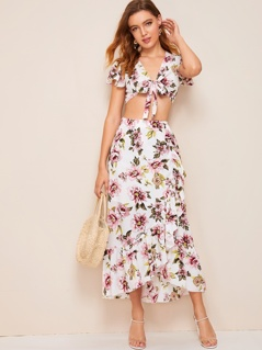 Knotted Floral Print Top & Ruffle Hem Wrap Skirt Set