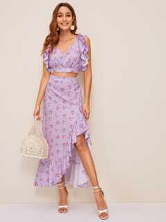 Ruffle Trim Ditsy Floral Top & Asymmetrical Skirt Set